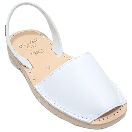 7734dd4e683 Castell 1097 - Avarcas Ibicencas Menorquinas Típicas para Mujer Abiertas  Planas Lisas en Color Natural Beig y Blanco: Amazon.es: Zapatos y  complementos