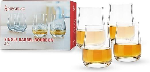 Spiegelau Single Barrel Bourbon Glasses, Set of 4, European-Made Lead-Free Crystal, Modern Whiskey Glasses, Dishwasher Safe, Professional Quality Cocktail Glass Gift Set, 13.25 oz