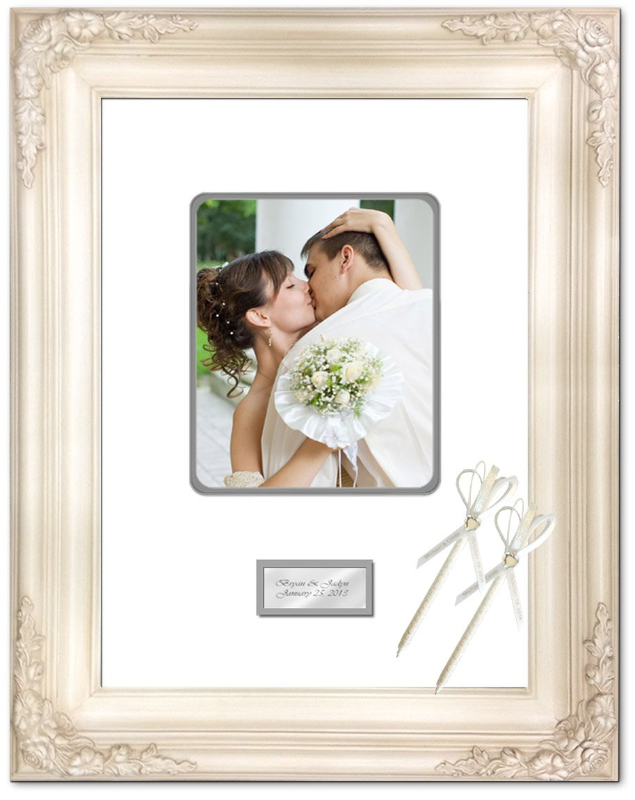 16 x 20 Wedding Anniversary Picture Frame with Two Handmade Ribbon Pens - Elite Off White Milan Raised 3D Floral Signature Photo Wood Frame - optional use as Guest Book Frame with Round Corner 8W x 10H Portrait Photo - Top mat White Inner mat Gray - Perso by FA Signature Picture Frame Company