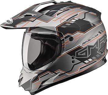 c5a4e393 Image Unavailable. Image not available for. Colour: Gmax GM11D Dual Sport  Adventure Full Face Helmet (Flat Black/Hi-Viz Orange