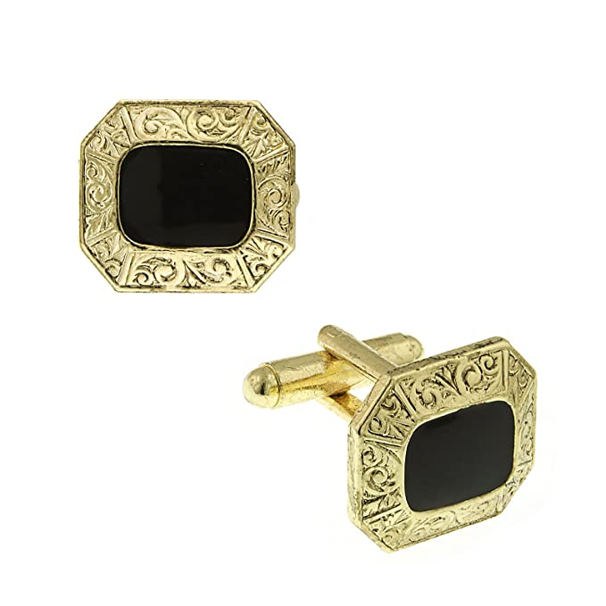 Edwardian Men's Accessories  Mens Enamel Cuff Links O/S Gold Tone $28.00 AT vintagedancer.com
