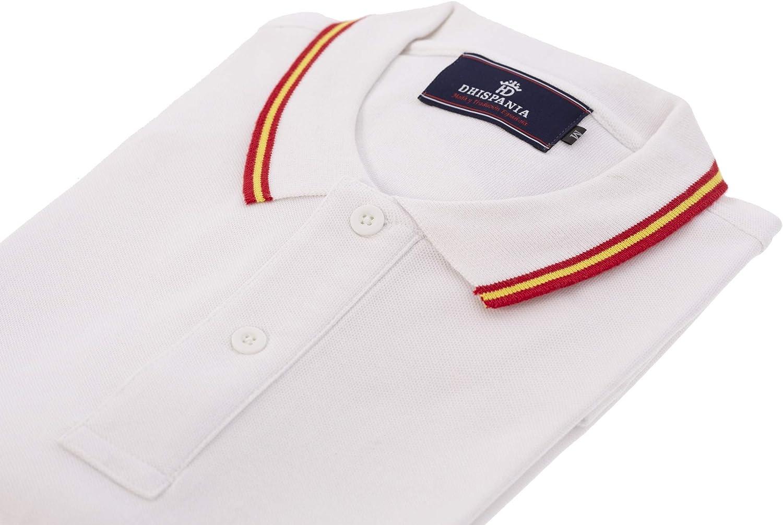 Polo Bandera de España, en Cuello y Mangas Pique blanco100% algodón.(VEA Las Medidas DE Tallas EN LA Foto) Blanco: Amazon.es: Ropa y accesorios