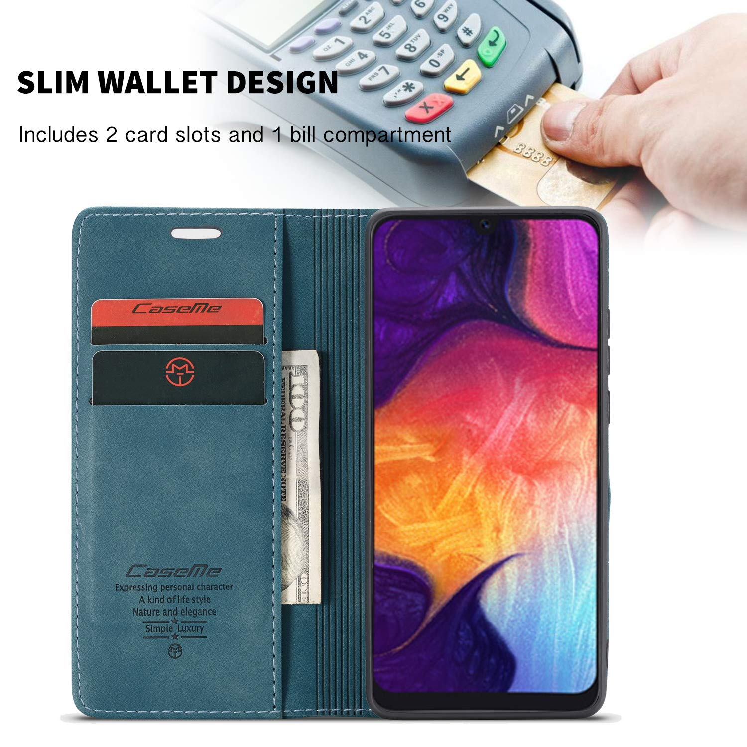 Black Galaxy A50 Case,Bpowe Leather Wallet Case Classic Design with Card Slot and Magnetic Closure Flip Fold Case for Samsung Galaxy A50