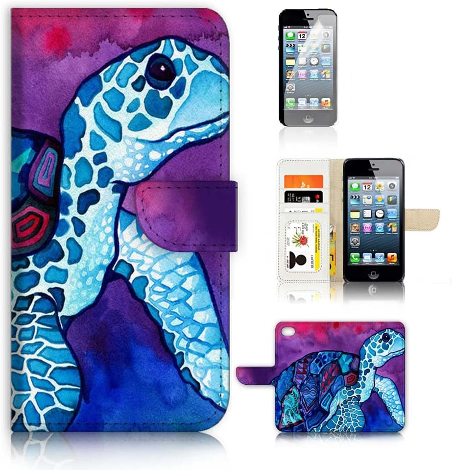 ( For iPhone 5 5S / iPhone SE ) Flip Wallet Case Cover and Screen Protector Bundle A20298 Turtle Paint