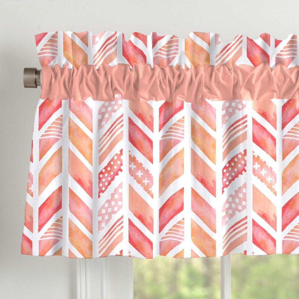 Carousel Designs Coral Watercolor Herringbone Window Valance Rod Pocket by Carousel Designs