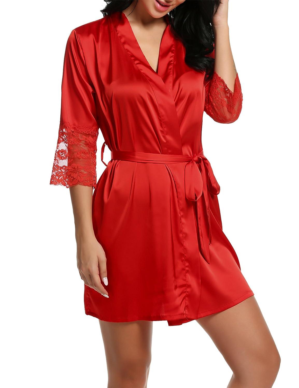 BeautyUU Damen Morgenmantel Kimono mit Taschen Bademantel Satin Kurz Robe Nachthemd Nachtw/äsche Mit Blumenspitze