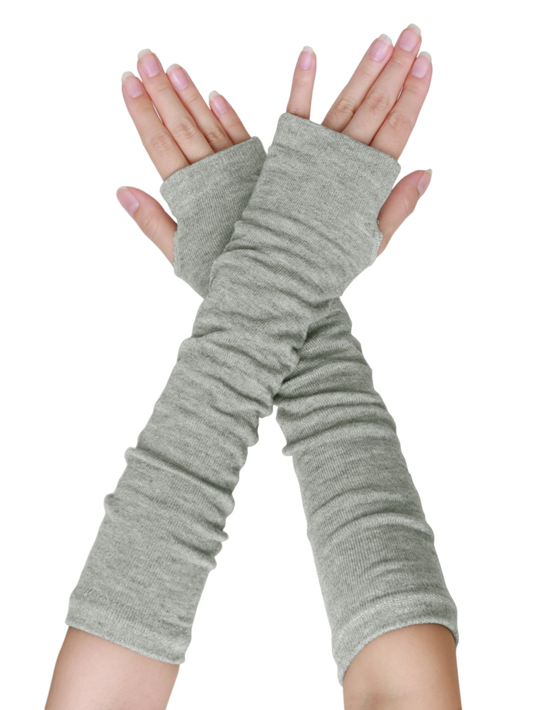 SourcingMap Women Elbow Length Arm Warmer Gloves Thumbhole Fingerless 1 Pairs Grey a15110400ux0407