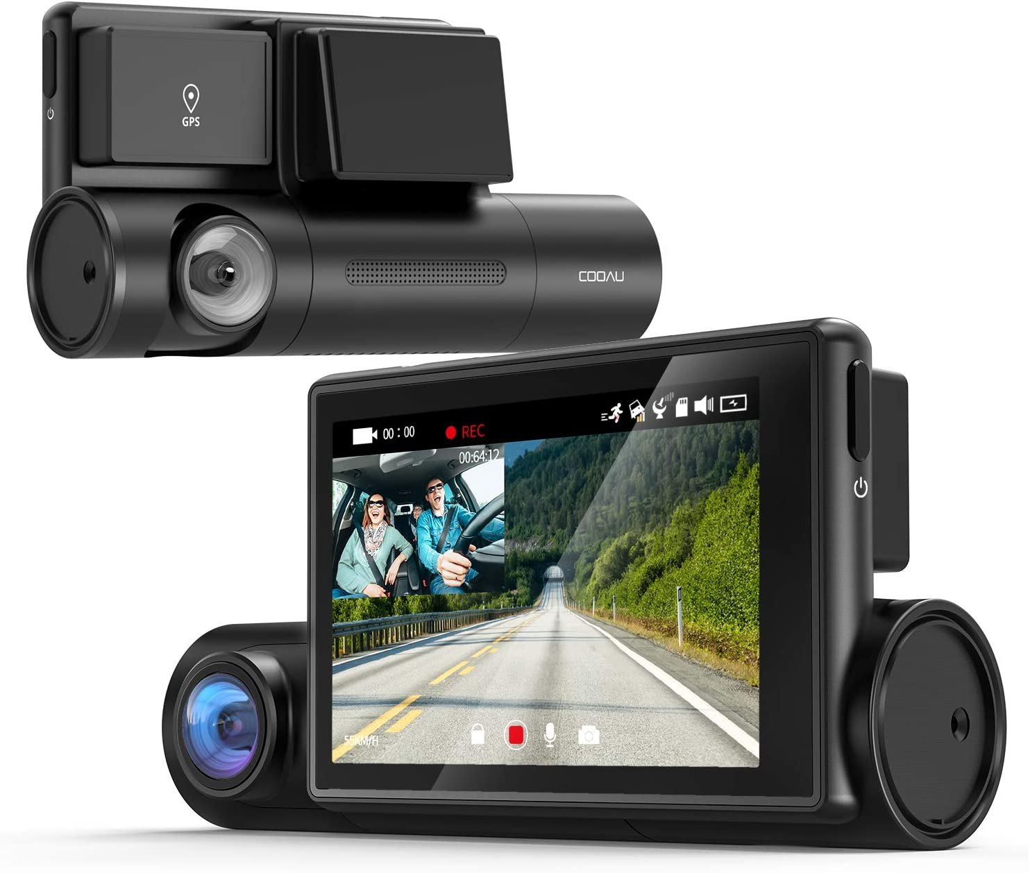 "COOAU Dual 1080P Dash Cam with GPS and Wi-Fi, 3"" OLED Touch Screen,Sony STARVIS Night Vision, Front and Inside in Car DVR Camera, Parking Mode, Support 128GB Card"