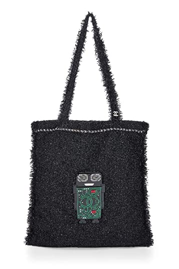 24c1493cd4e1 Amazon.com  CHANEL Black Tweed Robot Tote (Pre-Owned)  Shoes