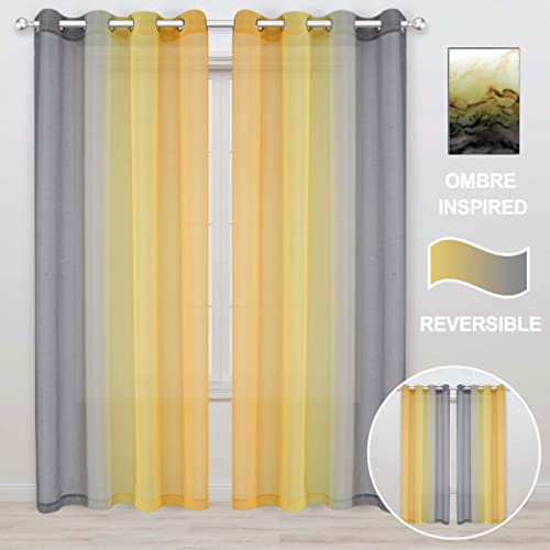 WONTEX Faux Linen 2 Tone Ombre Sheer Curtains for Bedroom Living Room, 52 x 108 Inch Long, Grey and Yellow Light Filtering Privacy Grommet Semi Sheer Voile, Gradient Curtain, Set of 2 Panels