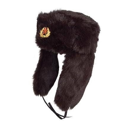 Negro Ushanka ruso gorro de piel sintética. 60 cm gorro Soviética extraíble  insignia con mensaje 73d14b50ebe