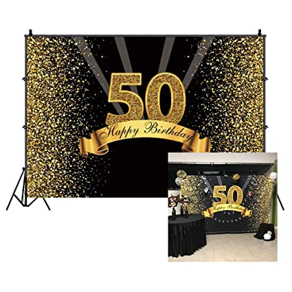 Cassisy 1,5x1m Vinilo Cumpleaños Telon de Fondo 50 telón de Fondo de cumpleaños Lentejuelas Brillantes Rayos Oro Negro Fondos para Fotografia Party ...