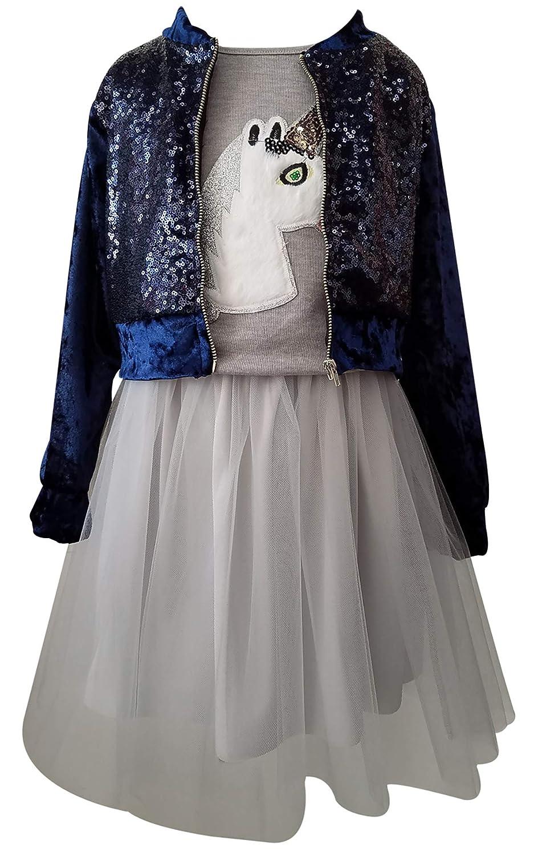 BNY Corner Girls 3 Pieces Skirt Set Jacket Top Tulle Skirt Holiday Clothing Set