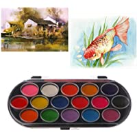 EA-STONE 16Pcs Watercolor Palette with Paint Brush Set,Paint Tray Artist Craft Palettes Kids Gift Drawing Tool
