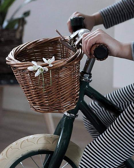 HB.YE Cesta de Bicicleta de Mimbre para Niños Hecha a Mano con ...