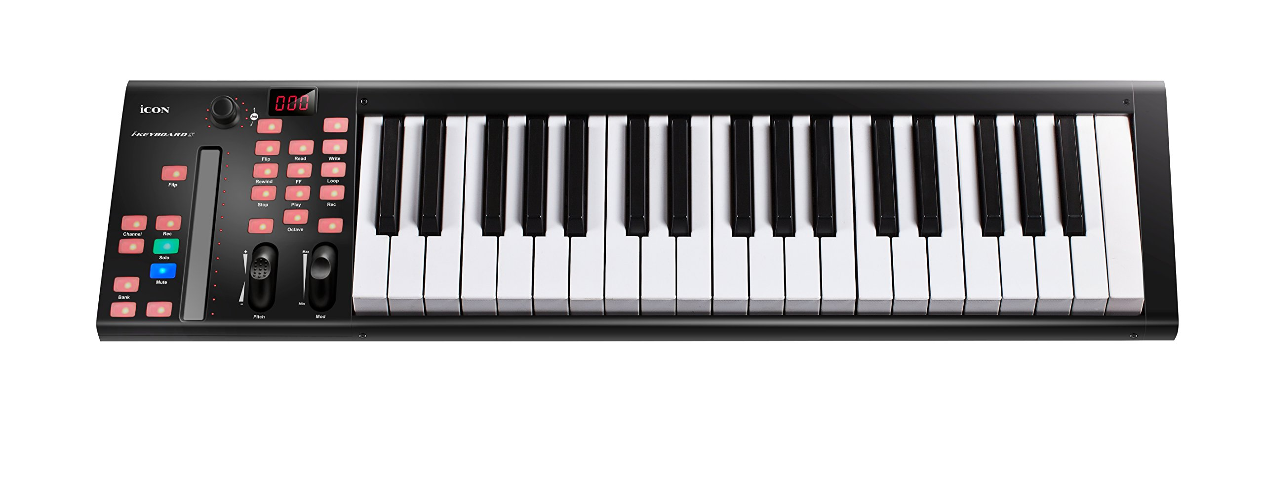 Icon Pro Audio Icon ICOK-IKEYBOARD4X Ikeyboard 4X 37 key piano keyboards with a single channel DAW controller in a rugged metal enclosure, 37 Note by Icon Pro Audio