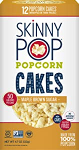 SkinnyPop Maple Brown Sugar Popcorn Cakes, Gluten Free Popcorn, Non-GMO, No Artificial Ingredients, A Delicious Source of Fiber, 4.7 Ounce