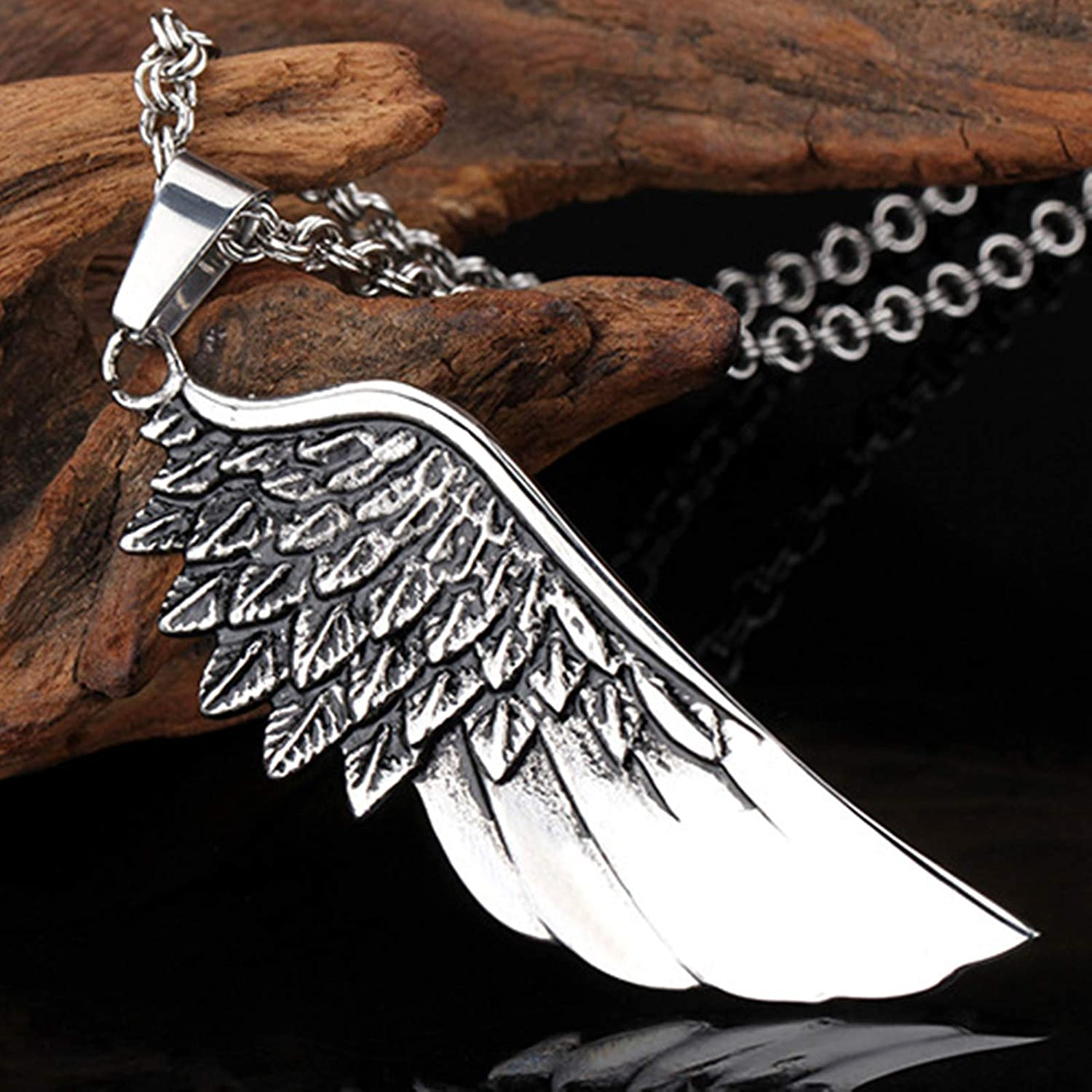 Daesar Pendant Necklace for Men Stainless Steel Wings Necklace Chain Silver