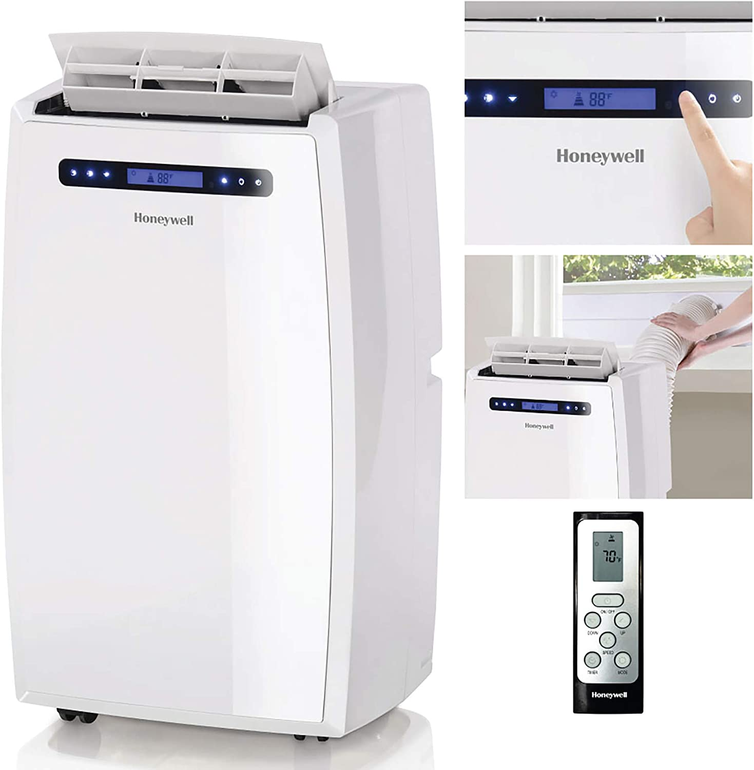 Honeywell (White MN14CCSWW Portable Air Conditioner with Dehumidifier, Fan with Remote Control & Advanced LCD Display Cools Rooms Up to 550-700 Sq. Ft