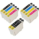 10x Compatible Printer Ink Cartridges for Epson Stylus S20, S21, SX100, SX105, SX110, SX115, SX200, SX205, SX209, SX210, SX215, SX400, SX405, SX410, SX415, SX510W, SX515W, SX600FW, SX605, B40W, BX300F, BX310FN, BX510, BX600FW, BX610FW, - 2 Full Sets + 2 Extra Black Ink Cartridges Latest Chip Version, Double Capacity Inks, 100% Guaranteed ***by PRINTER INK CARTRIDGES***