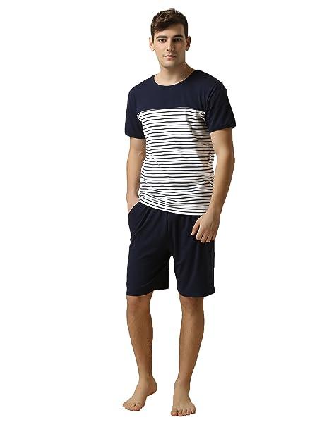 Suntasty Pijama Ropa de Dormir para Hombre Hombre del Pijama Conjunto(Blue,S,