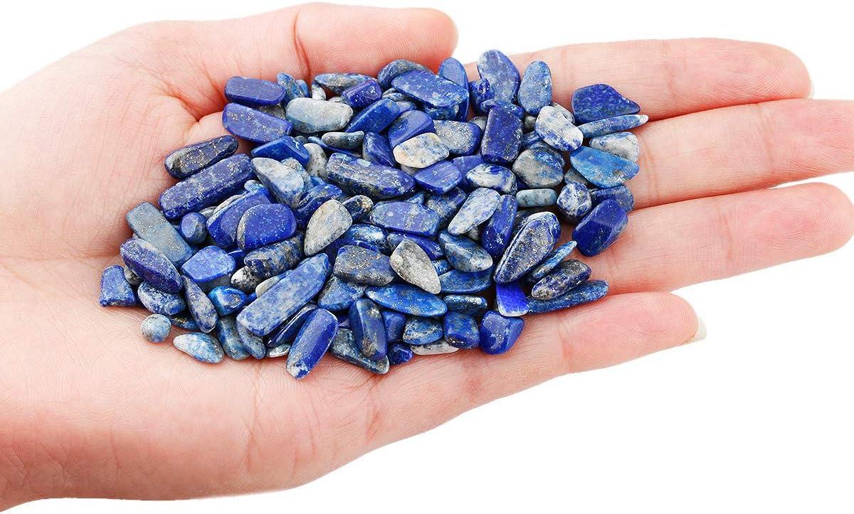 Nupuyai 1 lb Tumbled Chips Stone Crushed Irregular Shape Healing Reiki Crystal Stone for Home Decoration Lapis Lazuli