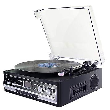 Tocadiscos,Record Player de Vinilo DLITIME con Radio Am&FM/USB/RCA/AUX/Altavoz Estéreo Bluetooth/Reproductor de Cassette