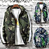 iYYVV Mens Full Zip Camouflage Long Sleeve Pocket