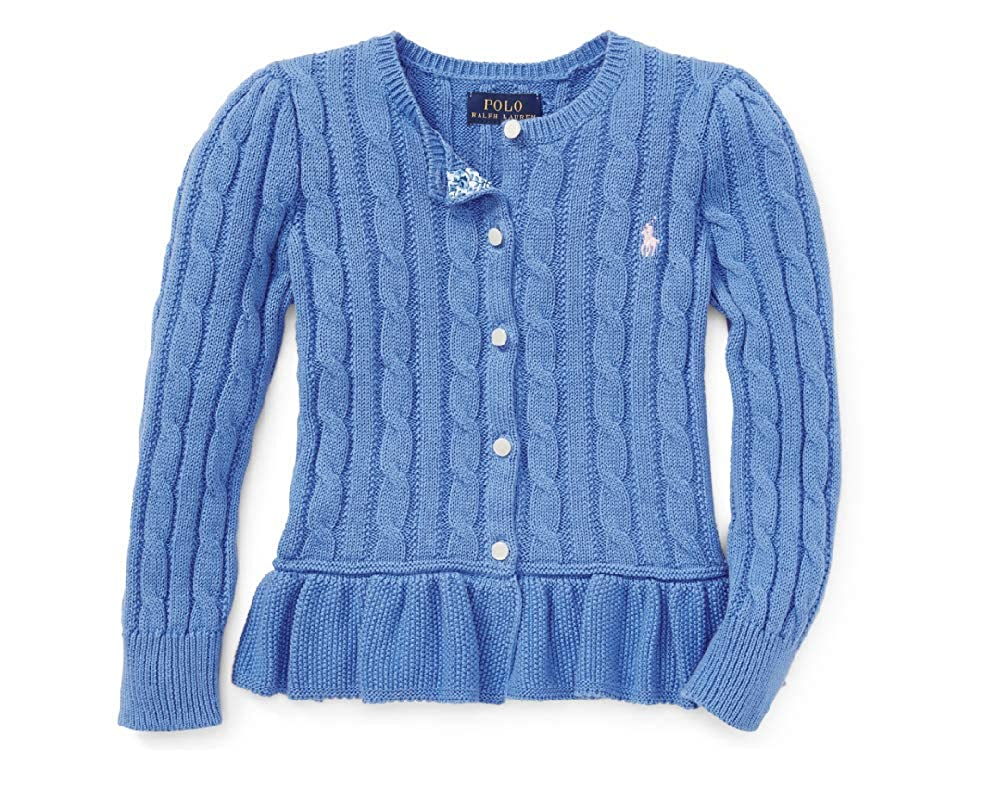 Ralph Lauren Girls Peplum Cable Knit Cardigan Sweater