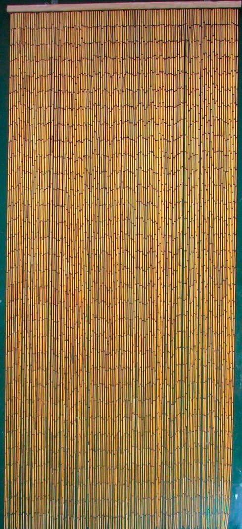 ABeadedCurtain 125 String Natural Bamboo Beaded Curtain 38% More Strands Handmade with 4000 Beads (+Hanging Hardware)