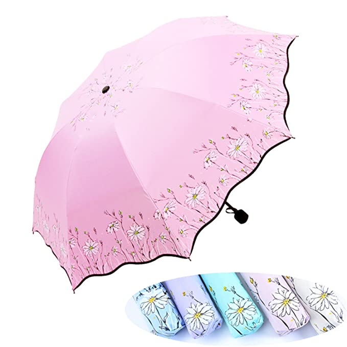 Amazon.com : NEW Flower Umbrella Rain Women Men Three-Folding Black Coating Anti-Uv Female Umbrella Sun Ladies Parasol Mujer Paraguas beige : Sports & ...