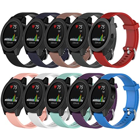 16d4f4a6c QGHXO Band for Garmin VivoActive 3, Soft Silicone Replacement Watch Band  for Garmin VivoActive 3