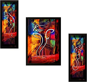 Nobility Ganesha Framed Painting - Exclusive Wall Art Statue - Set of 03