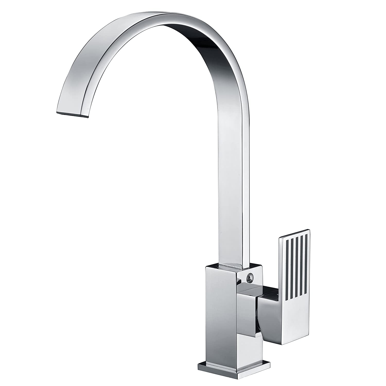 Avola Chrome Twin Levers Kitchen Sink Mixer Tap Full Solid Brass Body Stainless Steel Swiel Spring Spout with Pull Down Single Function Brass Nozzle Classic Design HUASONG