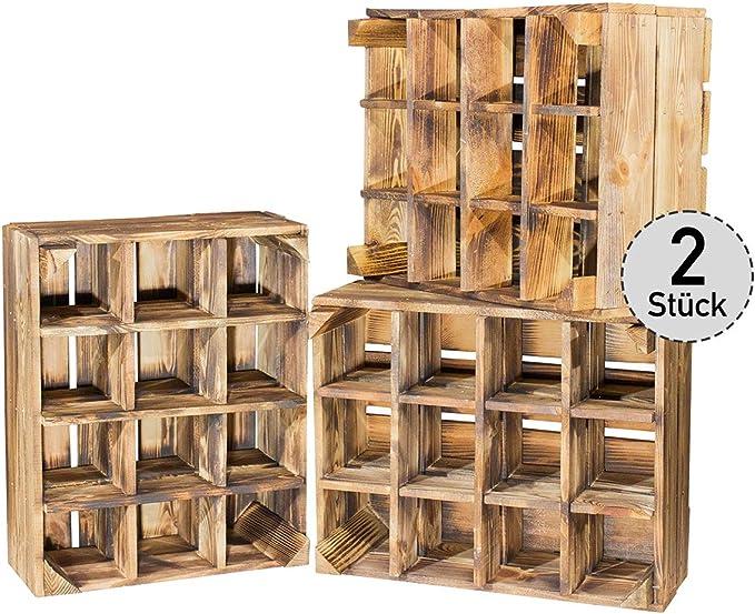 Juego de 2 Nueva geflammte Caja para botella estante 50 x 40 x 23 cm: Amazon.es: Hogar