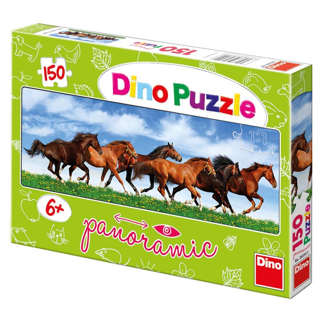 546ecf89d5e5 DinoToys 393141 Running Horse High Quality Wide Panoramic Jigsaws Puzzle   Amazon.it  Giochi e giocattoli