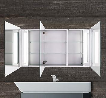 Designer LED Alu Spiegelschrank für Badezimmer mit Beleuchtung 120cm ...