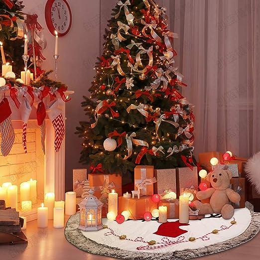 Supker - Falda de árbol de Navidad Grande de 48 Pulgadas, Borde de ...