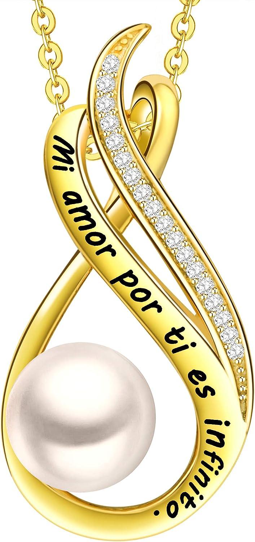 LOVORDS Collar Mujer Grabado Plata de Ley 925 Colgante Infinito Perla Cultivada Blanca de Agua Dulce 8mm Regalo Madre Mamá Esposa Novia Abuela Hija