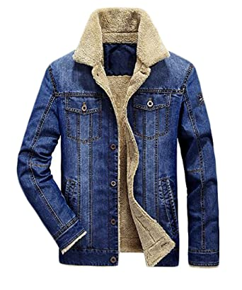 Uuyuk Mens Fashion Winter Fleece Lined Fur Collar Denim Jacket Coat
