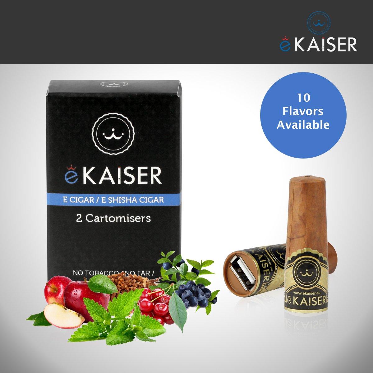 eKaiser E cigarro | USB cigarro electrónico recargable con precargadas Cartomizers | Cartuchos 3 libre de nicotina del tabaco de oro | e-Shisha Starter Kit: ...