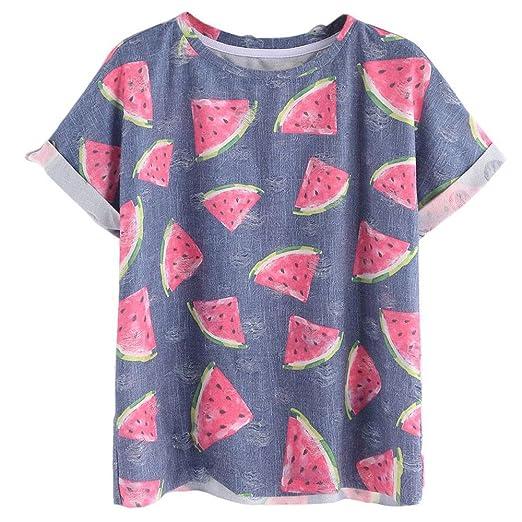 3497190ef40b Tanhangguan Women T-Shirts On Sale Summer Watermelon Printed Short Sleeve  Casual Tees Shirts Tops