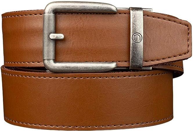 Nexbelt - Belt with No Holes - Rogue Walnut CCW Leather EDC Gun Belt for Men with Ratchet Buckle