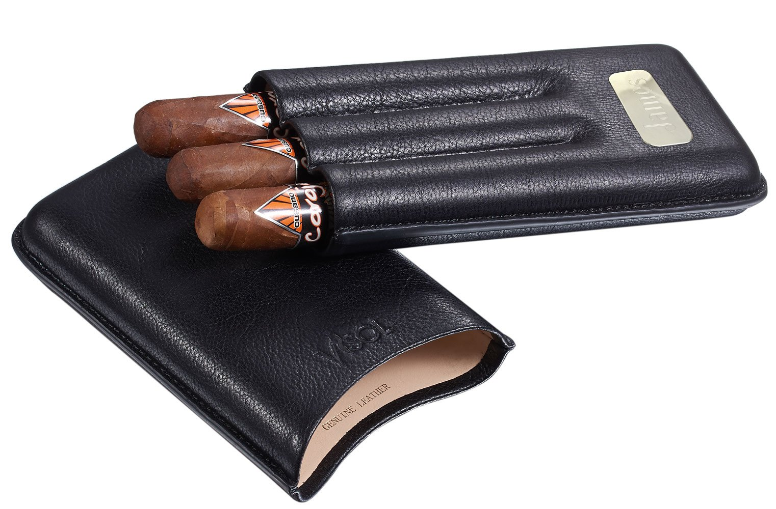 Personalized Visol Leather 3 Finger Cigar Case with Engraved Plate
