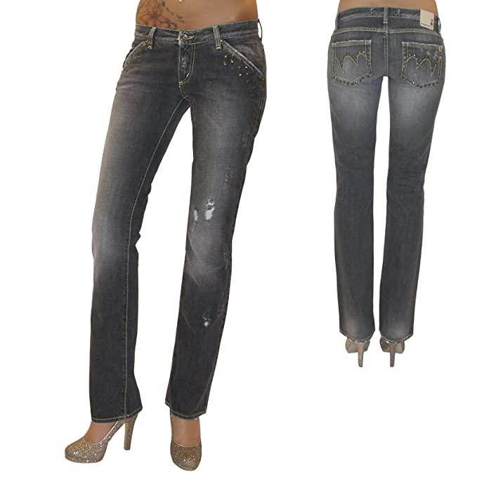 MET Diseño Mujer Destroyed Jeans – Pantalones Vaqueros Pantalones Pierna Recta Gris Used Remaches