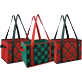 Earthwise Reusable Grocery Bag Box Shopping Plaid Design Deluxe COLLAPSIBLE Gift Basket Bag w/Reinforced Fold Down Bottom Storage Boxes Bins Cubes (Set of 3)