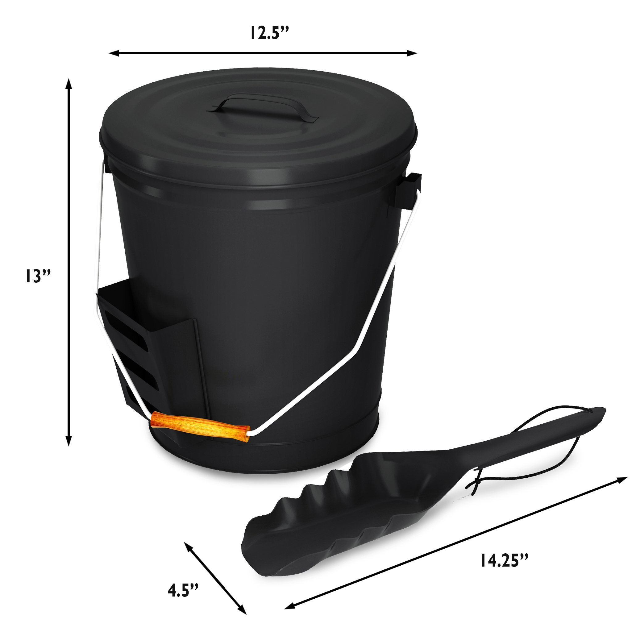 Home-Complete HC-7004 4.75 Gallon Black Ash Bucket with Lid and Shovel-Essential Tools for Fireplaces, Fire Pits, Wood Burning Stoves-Hearth Accessories by Home-Complete (Image #7)