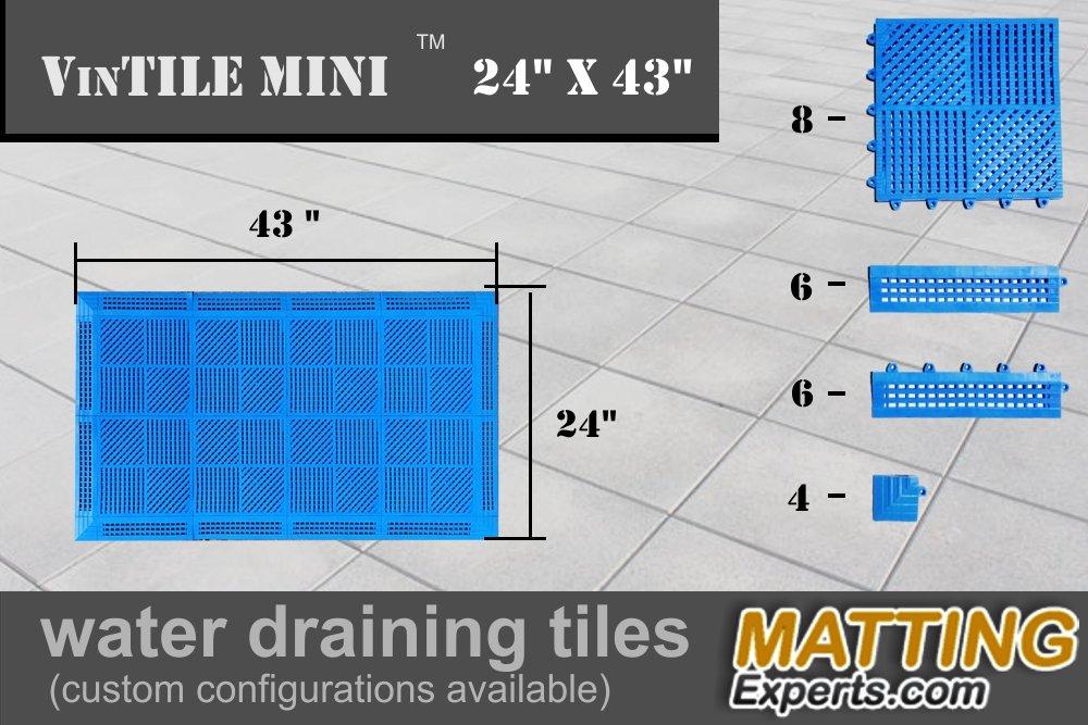 VinTile Mini Vinyl Interlocking Water Draining Anti-Slip Soft Floor Tiles for Shower, Locker Room, Pool Areas, Decks and Patios (24'' x 43'', Blue)