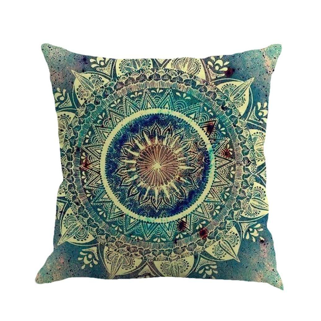 Alixyz Fashion Boho Print Patterns Pillow Cases Linen Sofa Cushion Cover Home Decor Pillow Case (F, M)