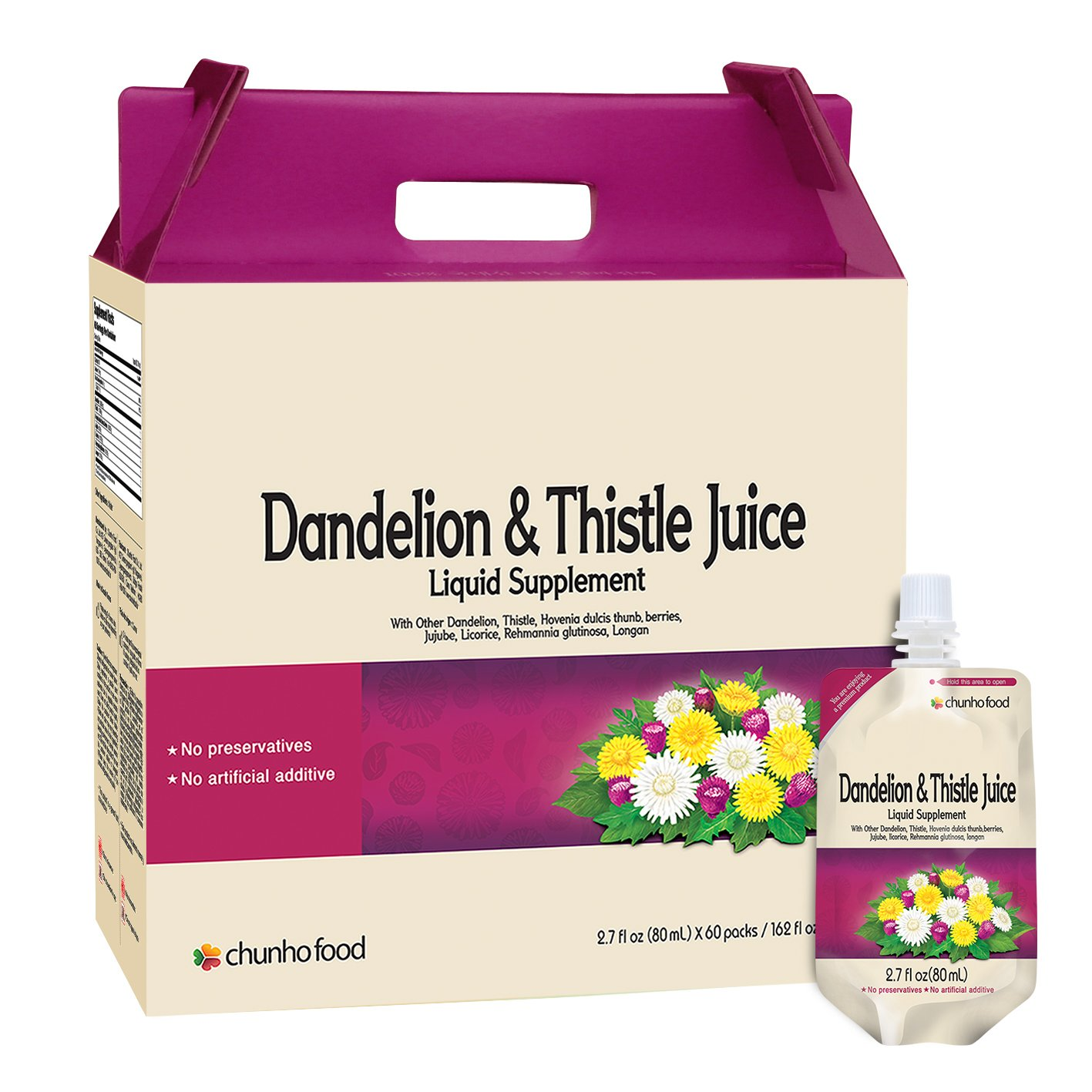 Chunho Food Dandelion & Thistle Juice Liquid Supplement. Helps Improve Liver Health, Enhance Immunity. No Preservatives and Artificial Additives. ... by Chunho Food